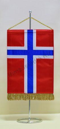 Norvégia hímzett asztali zászló