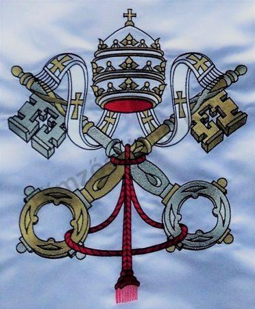 Kültéri vatikáni zászló mindkét oldalon hímzett címerrel