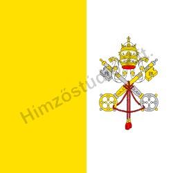 Beltéri vatikáni zászló egyik oldalon hímzett címerrel