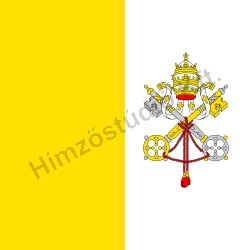 Beltéri vatikáni zászló mindkét oldalon hímzett címerrel