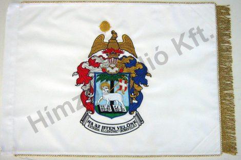 Beltéri református zászló mindkét oldalon hímzett címerrel