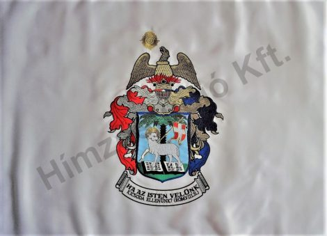 Kültéri református zászló egyik oldalon hímzett címerrel